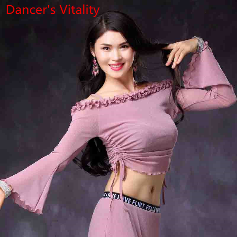 New Belly Dance Clothes Sexy Horn Sleeves Dance Top Women Dancing Long Sleeves Tees M,L Hot Pink Pink,black