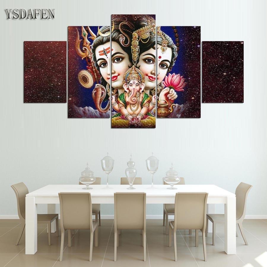 Canvas Muur Frame Home Decor Modulaire Foto 5 Stuks Shiva Parvati ...