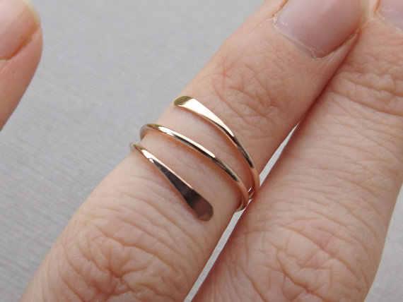PINJEASกุหลาบบรรจุ/ขาแหวนสามวงกลมที่ทำด้วยมือแหวนนิ้วเท้าน่ารักเครื่องประดับสำหรับผู้หญิงของขวัญคริสต์มาส