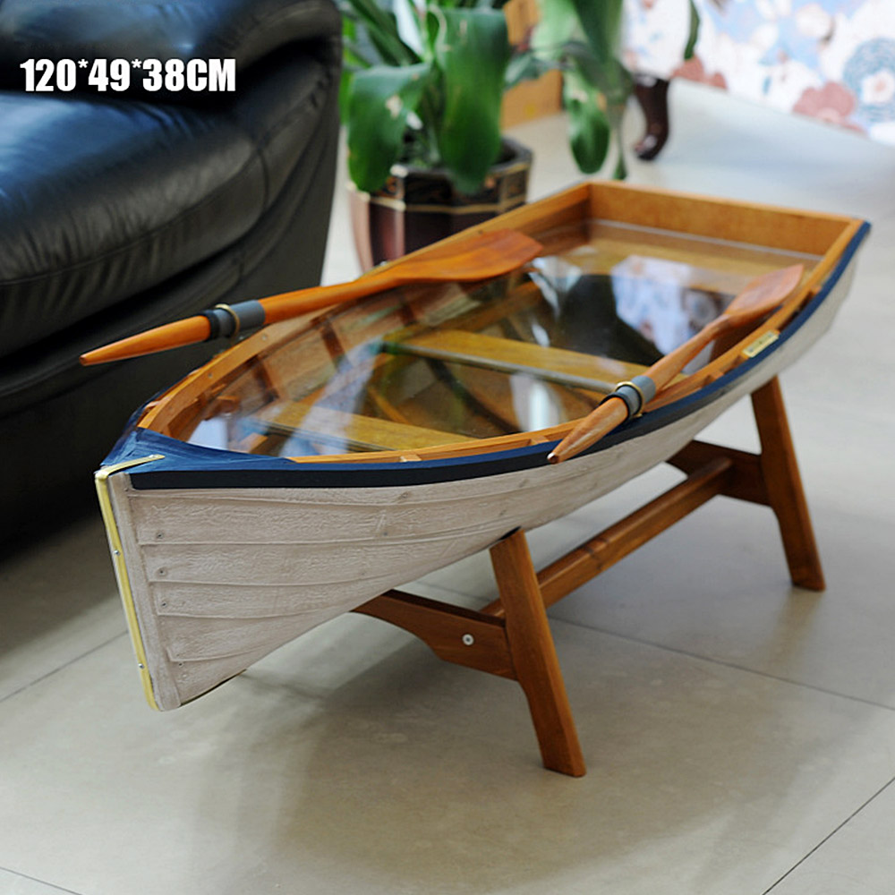 Mediterranean Boat Shape Table Picnic Outdoor Garden Desk Unfoldable Balcony Coffee Table Tea tables Furniture Decorat Creative (15)