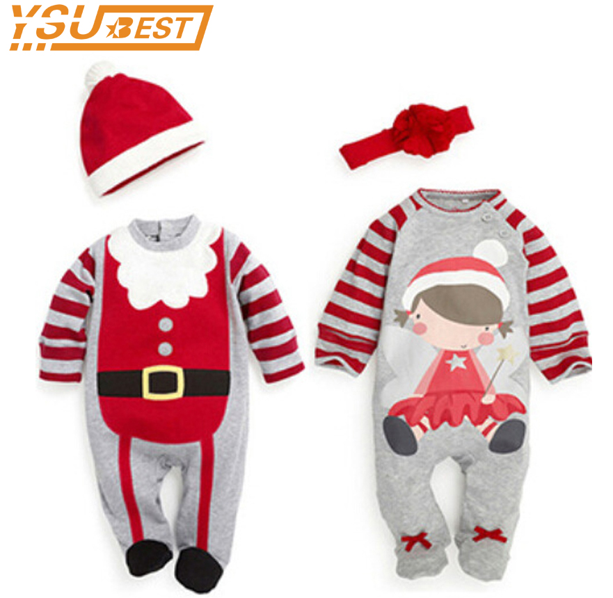 Christmas Rompers 0-3yrs Baby Boys Girls Clothes Kids Clothes Long Sleeve Rompers Children Christmas Infant Clothing Set Top+Hat newborn baby rompers baby clothing 100% cotton infant jumpsuit ropa bebe long sleeve girl boys rompers costumes baby romper