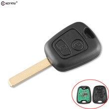 KEYYOU-llave de coche remota sin llave, 2 botones, 433MHZ, para Peugeot 307, Citroen C1, C3, hoja VA2 con Chip PCF7961