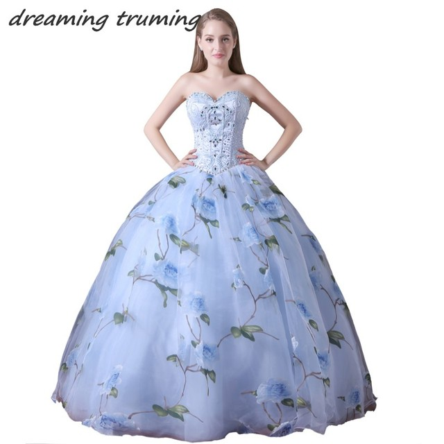 703748517e7 vestidos de 15 anos Light Blue Quinceanera Dresses Floral Print Ball Gown  Floor Length Tulle Cheap Party Pageant Gown
