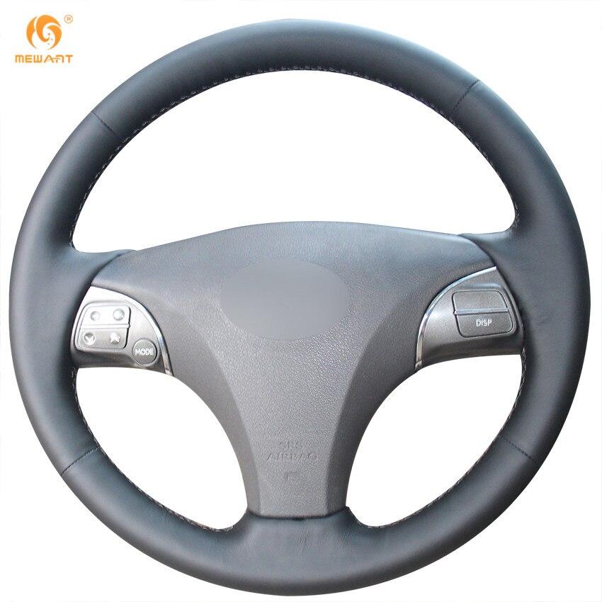 MEWANT Black Genuine Leather Steering Wheel Cover for Lexus ES240 ES250 ES300 ES350 2007-2012 Lexus GS350 GS450h GS460 2009 2010 runba ice silk steering wheel cover sets with red thread