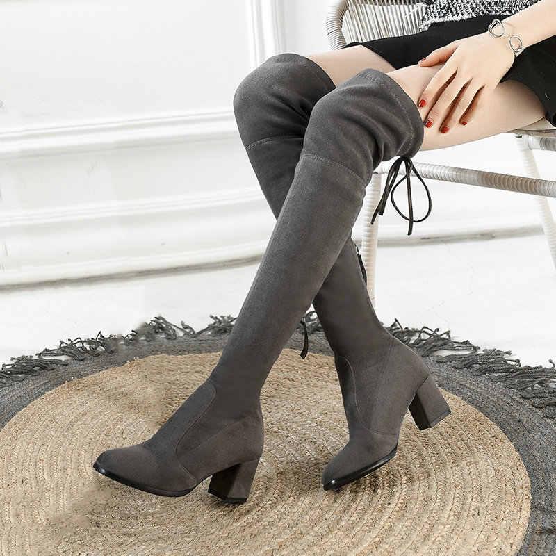 Chunky Ferse Oberschenkel Stiefel Frauen Stretch Stiefel Damen Rot Schwarz Über das Knie Stiefel Winter Schuhe Frau Komfort Karree stiefel