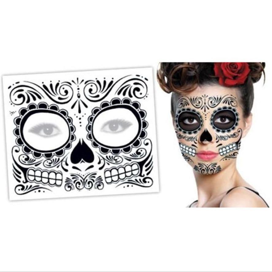 New Halloween Temporary Tattoo Sticker HAICAR 2PCS Day Of The Dead Dia De Los Muertos Face Mask Sugar Skull Tattoo Sticker 20
