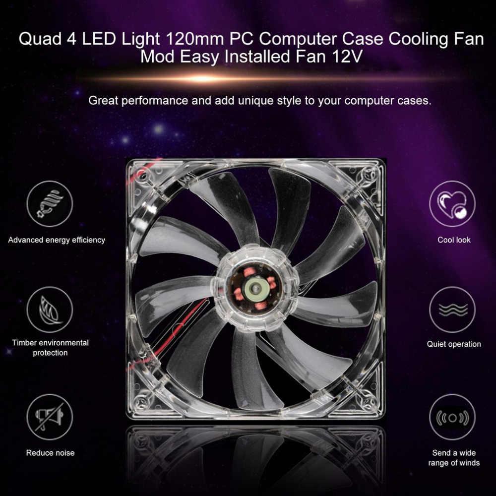 ПК Вентилятор компьютера Quad 4 светодиодный свет 120 мм компьютерный корпус для ПК охлаждающий вентилятор мод тихий разъем Molex легкий светодиодный вентилятор 12 В