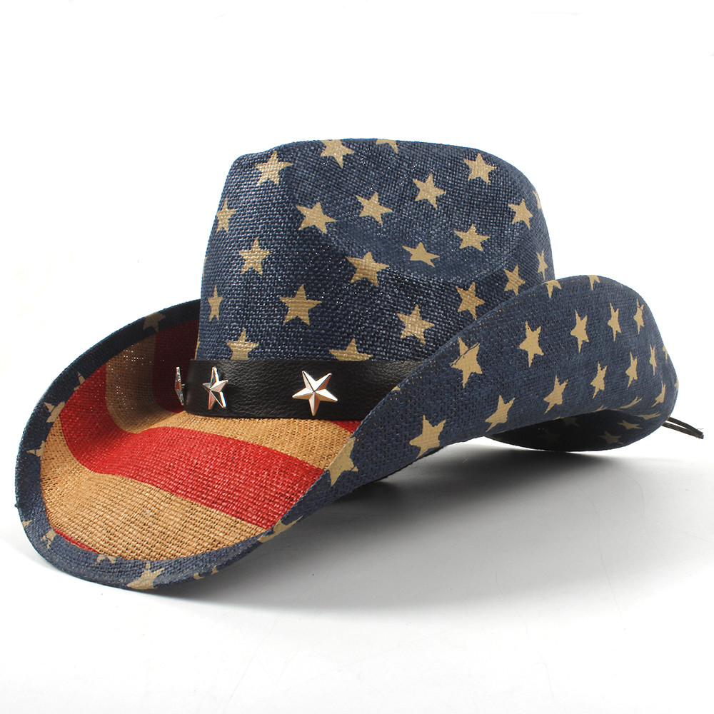 ee49d36f9ff USA American Flag Men Straw Cowboy Hat For Dad Western Sombrero Hombre  Cowboy Caps Size 58CM Dropshipping