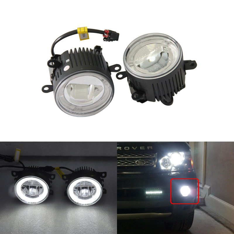 Direct Fit For Land Rover For Range Rover MK3 Sport For Freelander 2 LF For Discovery MK V Led Fog Lights Lamp W/ Guide DRL Ring for land rover range rover sport freelander 2 discovery 4 2006 2014 car styling led fog lights lamp crystal blue blue 12v