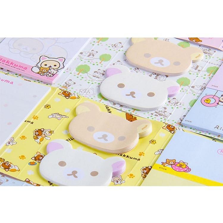 Image 3 - 12 pcs/lot Cartoon Rilakkuma Hat 6 Folding Memo Pad N Times Sticky Notes Memo Notepad Bookmark Gift StationeryMemo Pads   -