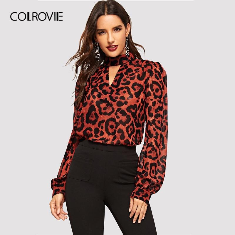 COLROVIE Leopard Chiffon Blouse 181029701