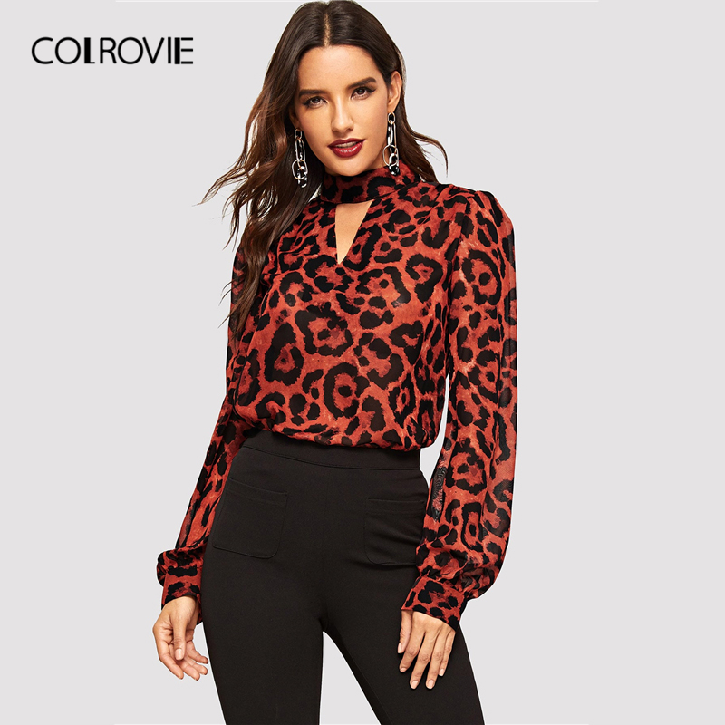 COLROVIE Keyhole Neck Cutout Leopard Chiffon   Blouse     Shirt   Women 2019 Spring Vintage Long Sleeve   Shirts   Ladies Tops And   Blouses