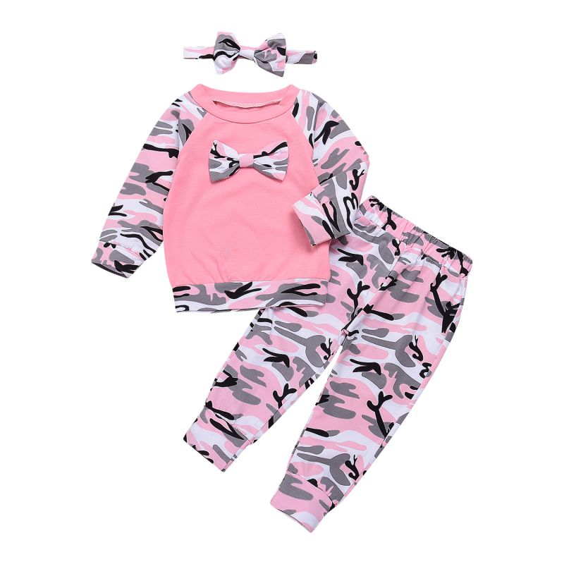 New Year Newborn Baby Girls Clothes Set 3PCS Cute Bowknot T-shirt Tops+Camouflage Long Pants+Headband Girl Military Style Outfit 3pcs newborn infant baby girl thanksgiving clothes set playsuit romper short pants bowknot outfit set