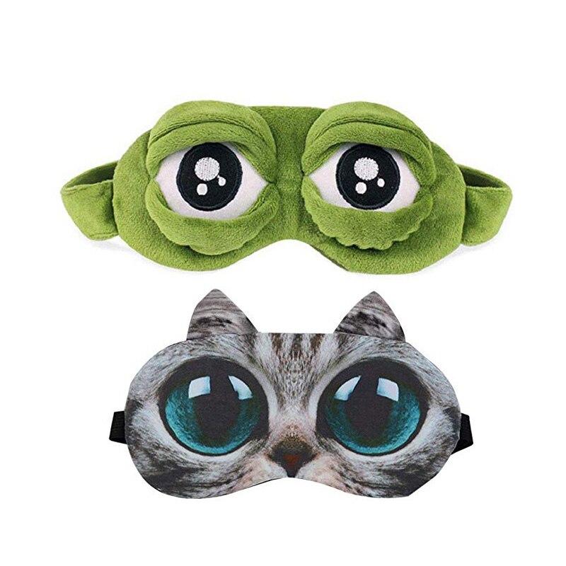 3d Traurig Frosch Schlaf Maske Rest Reise Entspannen Schlaf-beihilfen Augenbinde Eis Abdeckung Augenklappe Schlaf Maske Fall Anime Schönheit Mädchen 2019 Masken