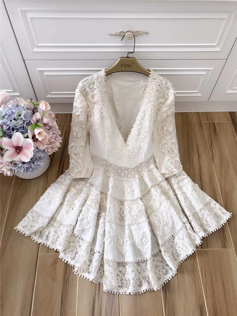 New Princess Women's Dress Casual Party Club Ladies Sexy Deep V-Neck Hollow Out Cotton Lace Embroidery a-line Summer Dress Mini 1