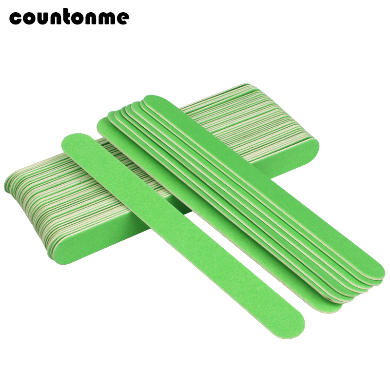 10Pcs Professional Wooden Nail Files Green Sanding Nail File 180/240 Sandpaper Buffer Block Strong Stick Nail Art Manicure Tools