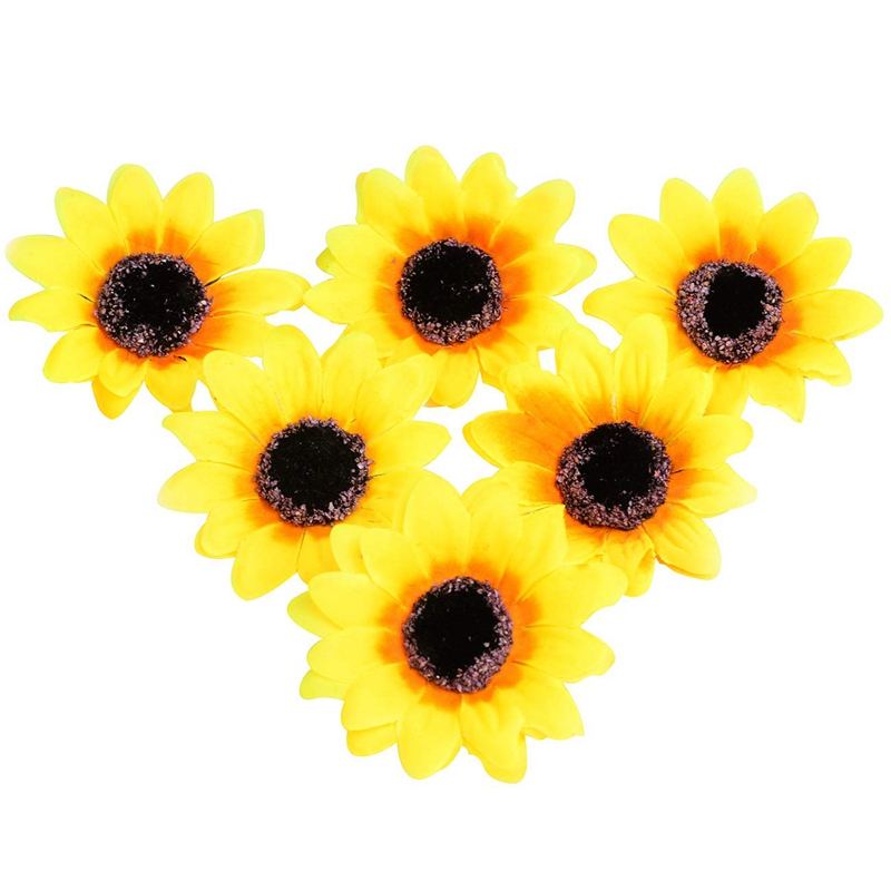 50Pcs Artificial Yellow Sunflower Heads 2.8 inch Fabric Floral For Home Decoration Wedding Decor, Bride Holding Flowers,Garden(China)