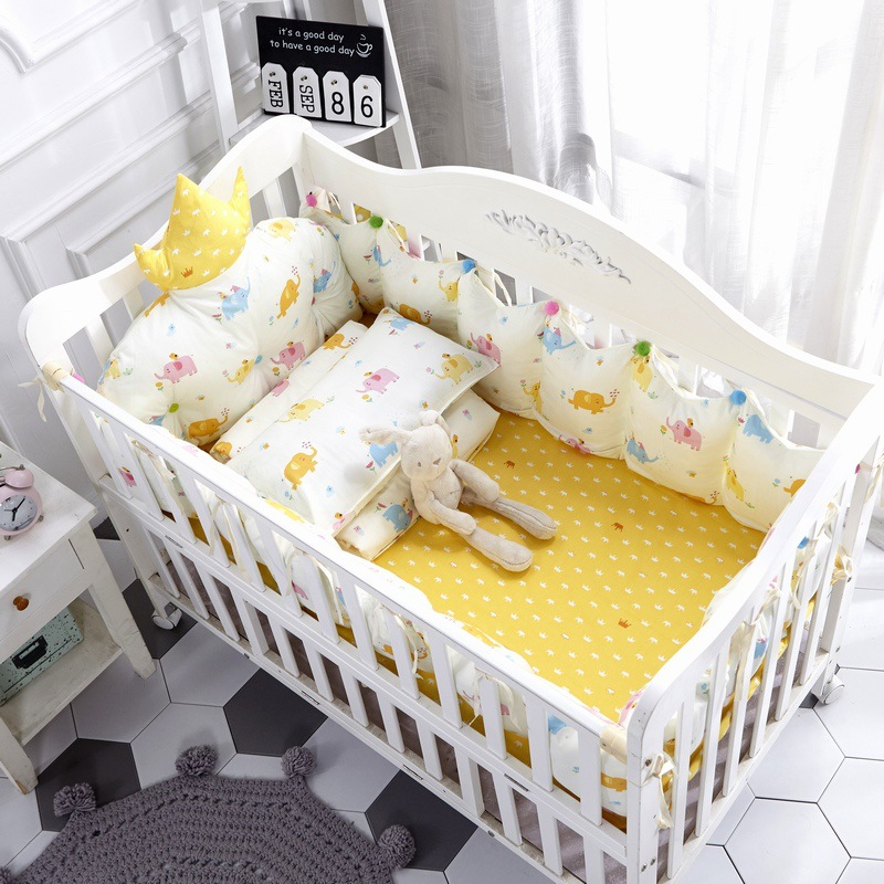 4pcs Cotton INS Crown Type Cradle Protector Barrier For Bed Baby Bedroom  Bed Linen  Baby Room Decoration Bed Decor (6)