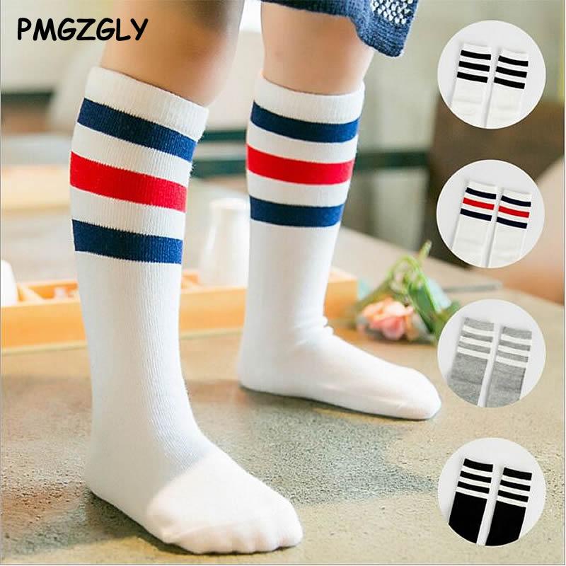 Trendmarkierung Kinder Schule Sport Stil Knie Socken Socken Für Mädchen Jungen Gestreiften Schwarz Und Weiß Baby Lange Schule Socken Baumwolle 0-6 Jahre Socken, Strumpfhosen & Leggings