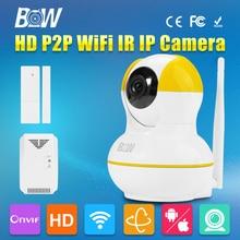 BW 3.6mm Endoscopio Cámara Domo IP Inalámbrica Wifi Sensor de La Puerta + Detector De Gas Rotativo de Alarma GSM Cámara de Seguridad de Vigilancia CCTV