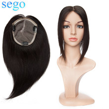 "SEGO 10""-12"" Straight Mono Base Hair Topper Remy Human Hair Pieces for Women Natural Color Toupee Hair for Women 100% Human Hair(China)"
