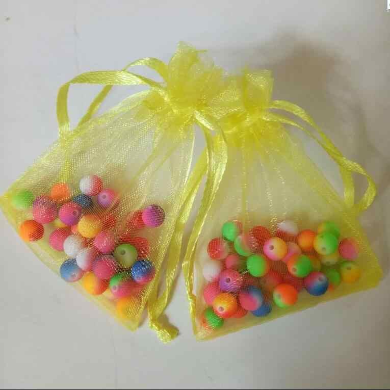 حار بيع 50 قطع 7x9 سنتيمتر الأورجانزا الرباط الحقيبة هدية عيد الميلاد كاندي الزفاف حقائب للمجوهرات تغليف عرض حقائب
