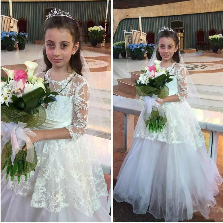 White Lace Ball Gown Flower Girl Dress for Wedding Three Quarter Sleeves Girls First Communion Dress Size 2-14Y light peach allover lace three fourth sleeves dress pink