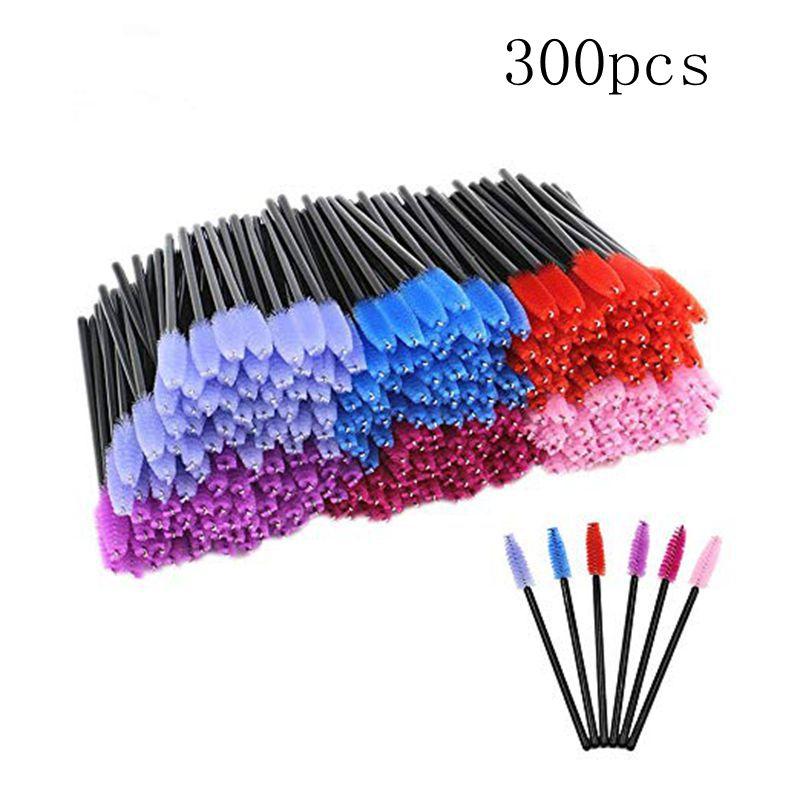 Mascara Wands -300 Pack Colored Disposable Eyelash Mascara Brushes Wands Eyelash Wands Extensions Applicator Makeup Brush