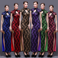 Summer Long Cheongsams Chinese Ladies Elegant Slim Lace Qipao Novelty Dress Vestidos