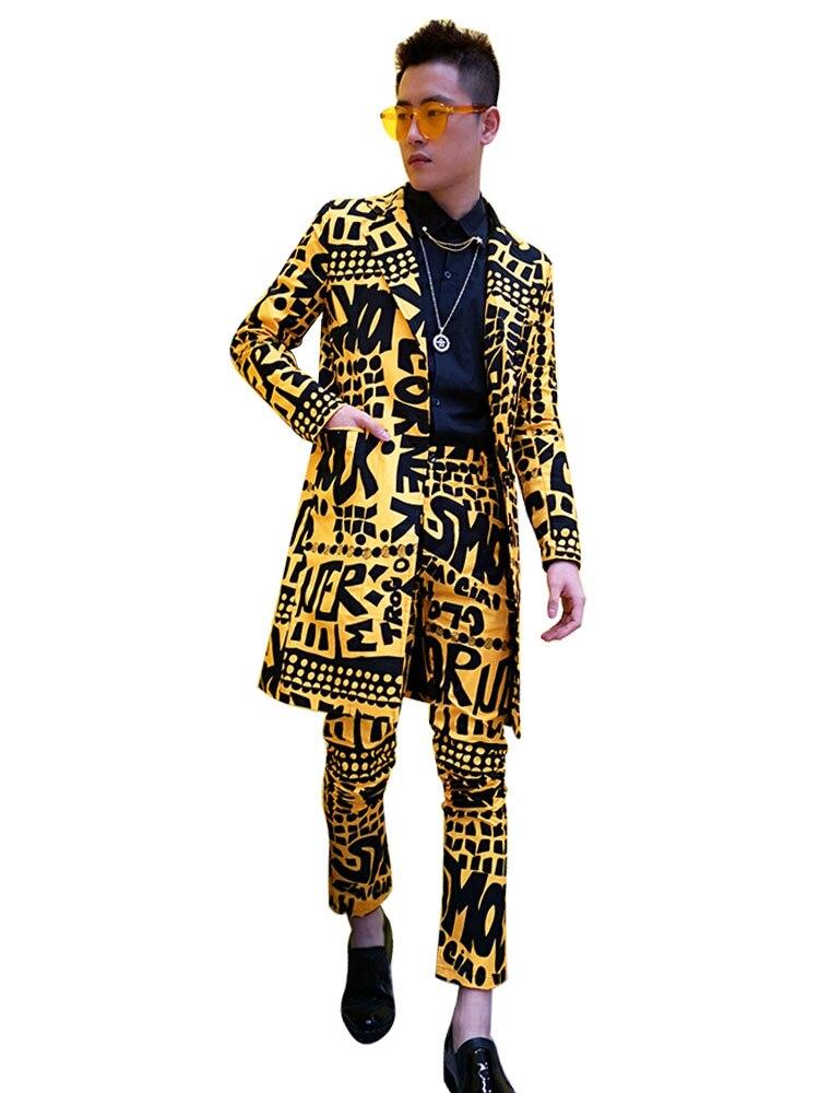 Conjuntos de trajes ajustados informales largos para hombre 2 piezas (chaqueta + pantalón) hombre Slim Fit Blazer traje amarillo chaqueta Club cantante etapa DJ ropa-in chaqueta de deporte from Ropa de hombre    2