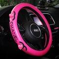 1 pc car styling Rosa PU lether cobertura de Volante de Carro Cobre carro cobre quatro estações Universal 38 cm Acessórios