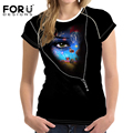 FORUDESIGNS Women T Shirt Fashion Female Clothes Tops Ladies Short Sleeve T-Shirt Mujer Cool Punk Style Black Skull Girl Tshirts