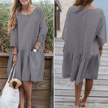 Spring Summer Dress Casual Loose Women O Neck 3/4 Sleeve Ruffle Swing Cotton Solid Color Knee-Length Dress
