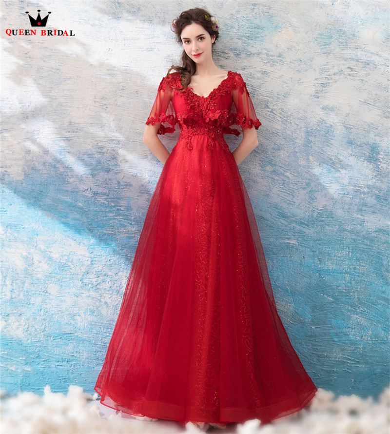 A-line Cape Lace Beading Tulle Long Formal Red Evening Dresses 2018 ...
