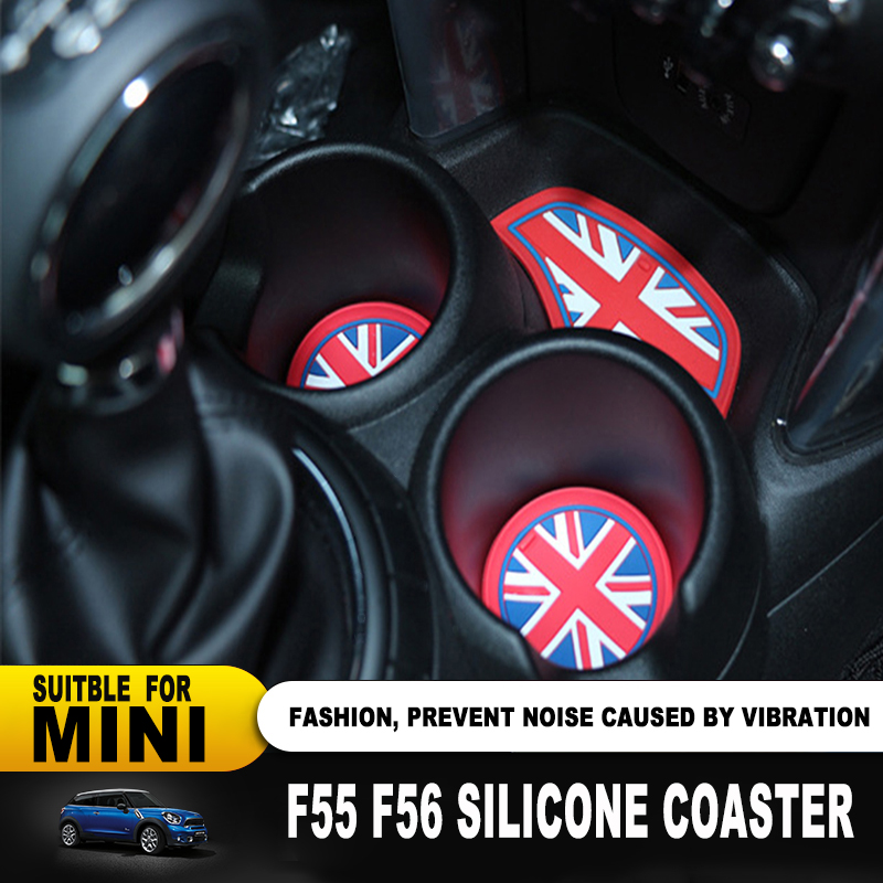 3PCS Car Interior Silica Gel Water Cup Anti-slip Mat Pad Coaster Car-styling For Mini Cooper F55 F56 Car Accessories Union Jack