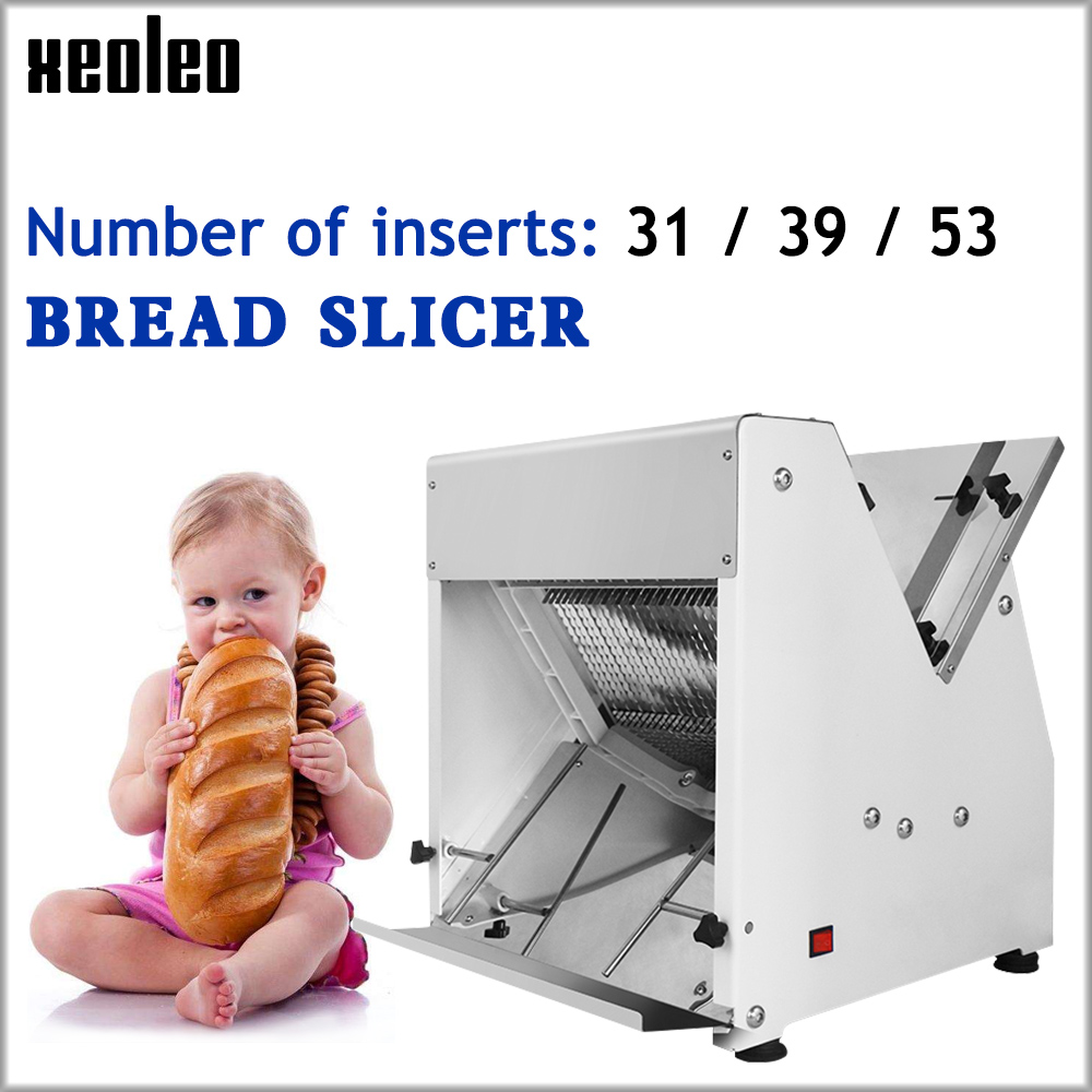 XEOLEO Commercial Bread Slicer Elrctric Slicing Machine Toast Slicer Stainless Steel Bread Cutting Machine Automatic Bread Maker