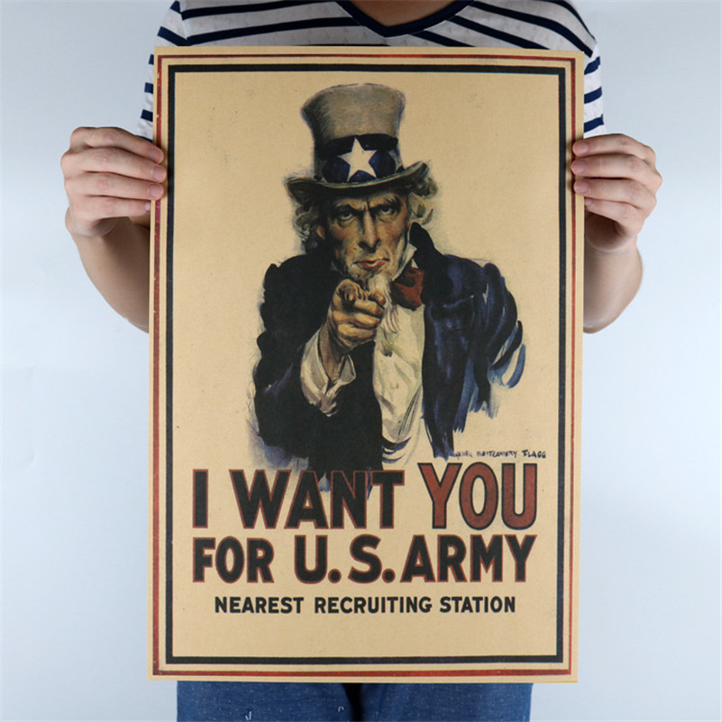 USA PosterI Want You For US Army Vintage Wall Art Crafts Sticker - Us army recruiting map