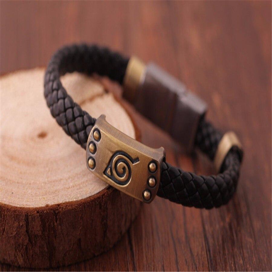 DZ626* Anime Naruto Leaf Mark Brown Knit Vintage Magnetic Wristband Bracelet