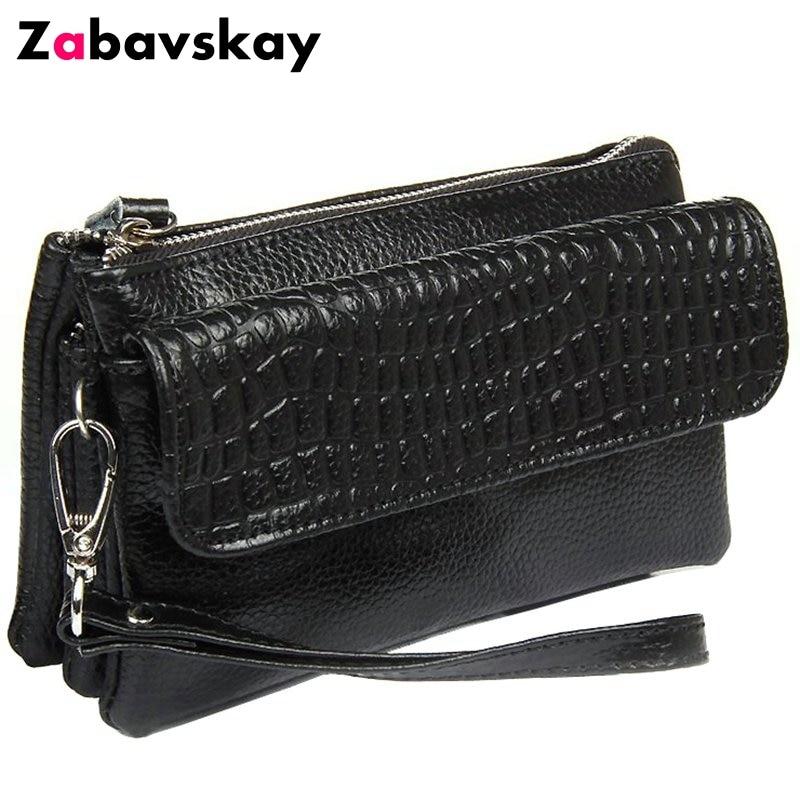 Clutch wristlet bag Genuine leather crocodile bag Free shipping 2018 NEW Large capacity strap Women Shoulder bags purse LD534