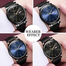 Kopeck Business Men Quartz Wrist Watch Stainless Steel Classic Black Dial Calendar Male Analog Clock Genuine Leather Men's Watch