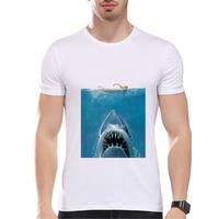 Summer Vintage Movie T Shirt Men High Quality Shark Print Men Tops Homme Tees Printing Clothes