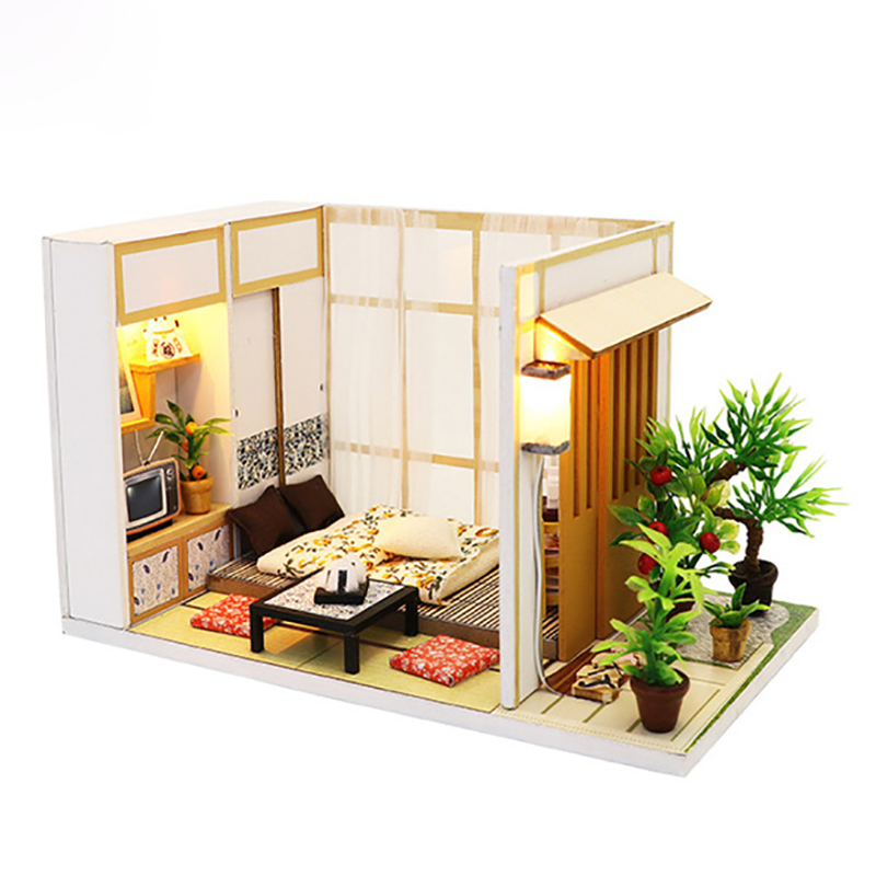 US $13.78 47% OFF|Diy Doll House Wooden Handmade Miniature Dollhouse  Assemble Kits Toys Japanese Style Bedroom Furniture House Toys for  Children-in ...