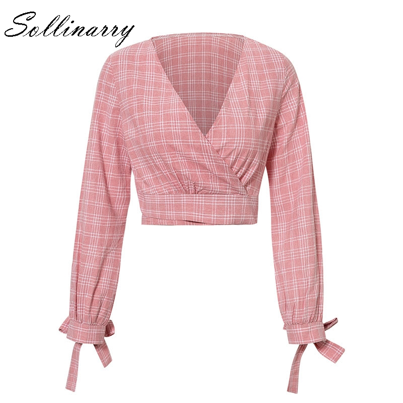 Sollinarry Pink Plaid Long Sleeve Crop Womens Tops And Blouse Casual V-neck Blouse Feminino Cardigan Bow Blouse Shirt Blusa Packing Of Nominated Brand Women's Clothing
