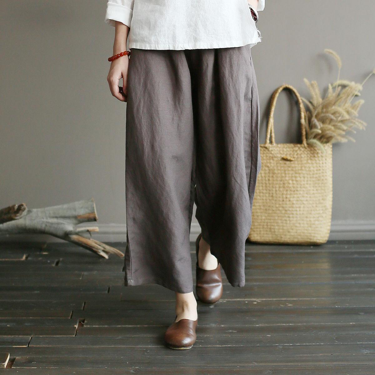 Johnature New Vintage Cotton Linen Loose Long   Pants   2018 Autumn Solid Color Elasitc Mid Waist Women   Wide     Leg   Full Length   Pants