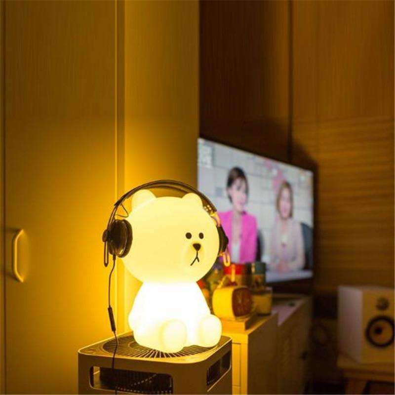 Ins Hot Lovely White Teddy Bear Children LED Bed Table Lamp Dimmable Baby Bedroom LED Night Light for Kids Gift