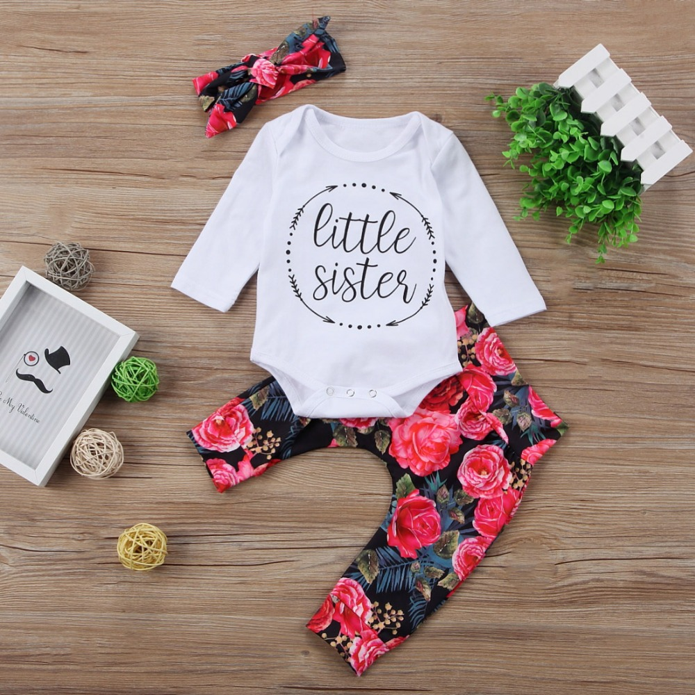 Baby Clothing Newborn Toddler Baby Girls Tops Letter Romper +Flower Pants +Bow Headband 3Pcs Outfits Set Clothes us stock floral newborn baby girls lace romper pants headband outfit set clothes infant toddler girl brief clothing set playsuit