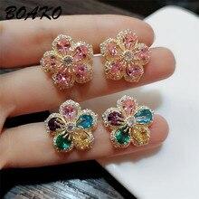 Korean Shiny Colorful Crystal Stud Earrings for Women Cute Flower AAA Cubic Zirconia Stone Earrings Fashion Jewelry Wedding Gift цены