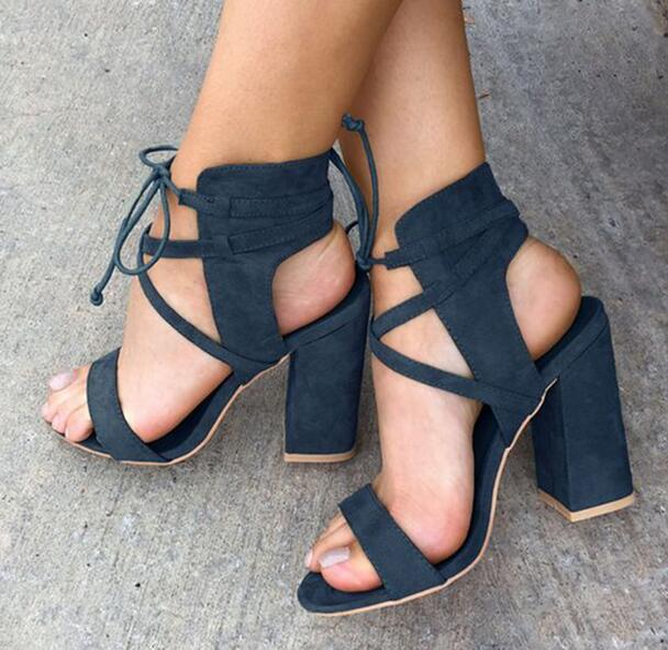 Fashion Dark Blue Faux Suede Leather Women Lace Up Sandals Sexy Open Toe Ladies Chunky Heel Sandals Summer Sexy Dress Shoes