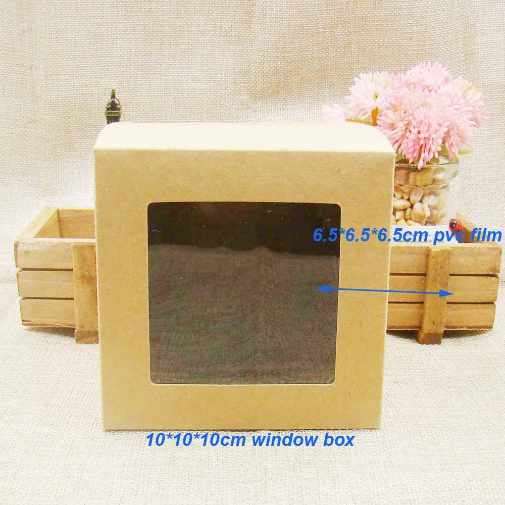 10*10*10cm30pcs FREE SHIPPING Kraft Brown Wedding Candy Boxes With Transparent Pvc Window,Birthday Gift Box .favors Window Box