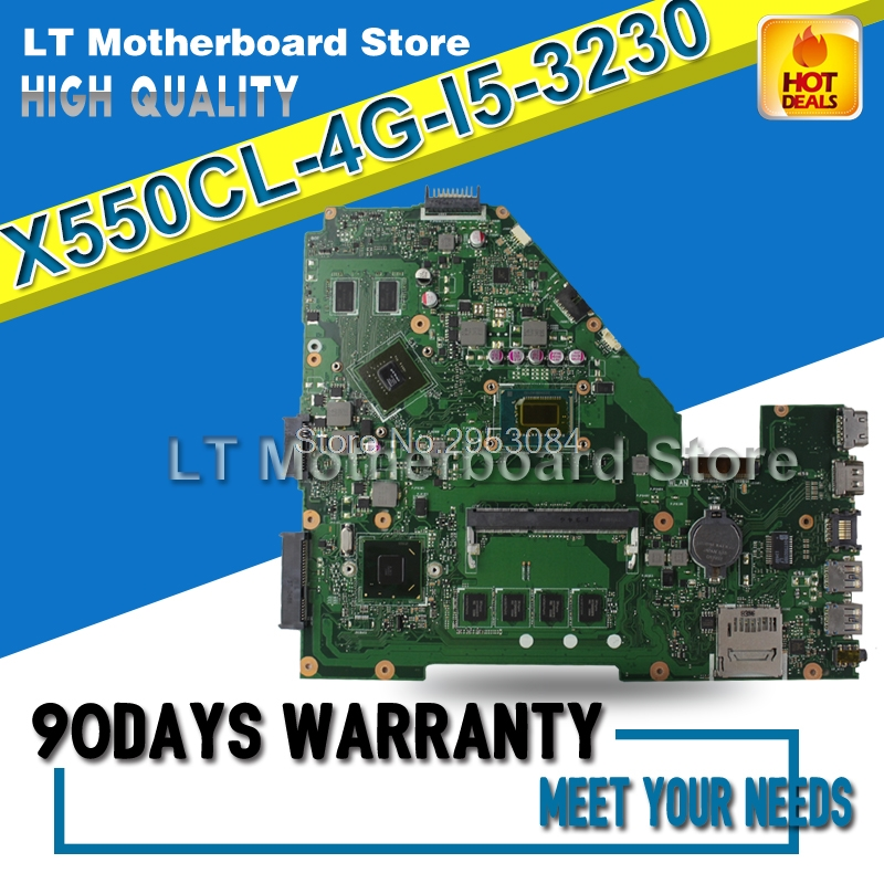 For ASUS X550CL 4G I5 3230 X550CC Laptop Motherboard System Board Main Board Card Logic Board Tested Well S-4 d05021b maine board fittings of a machine tested well original